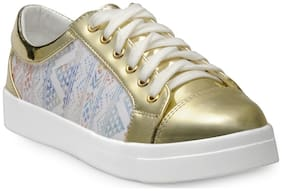 Flat n Heels Women Gold Casual Shoes