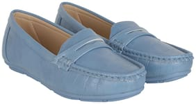 Flat n Heels Women Blue Loafers