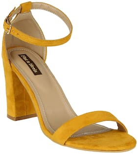 Flat n Heels Women Yellow Heeled Sandals