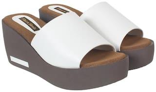 Flat n Heels Wedges For Women ( White )