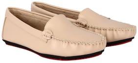 Flat n Heels Beige Loafers For Women