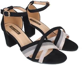 Flat n Heels Women Black Heeled Sandals
