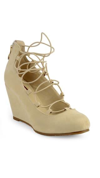 Flat N Heels Beige Fashion Wedges