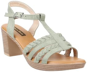 Flat n Heels Women Green Heeled Sandals