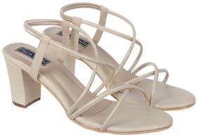 Flat n Heels Women Beige Heeled Sandals