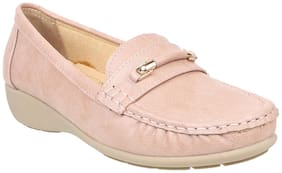 Women Solid Loafers ( Pink )