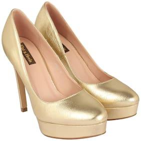 Flat n Heels Women Gold Heeled Sandals