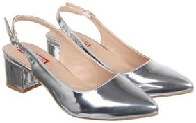 Flat n Heels Women Silver Heeled Sandals
