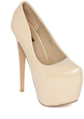 Flat n Heels Heels Patent Leather Women Beige
