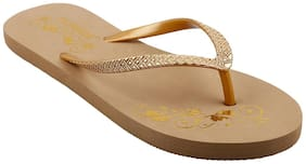 Flipside Womens Gold Brown Flipflops