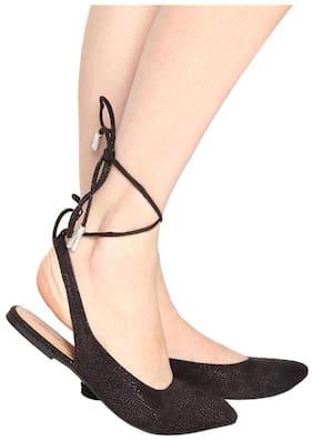 Flora Black Flat Lace up sandal