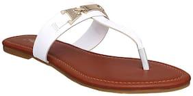 Flora Comfort White T Shape Flat Sandal