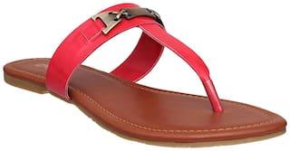 Flora Comfort Red T Shape Flat Sandal