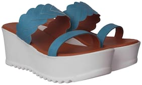 Flora Comfort Wedge Blue Slip On Sandal