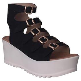Flora Comfort Wedge Heeled Black Sandal