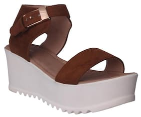 Flora Comfort Wedge Heeled Tan Sandal