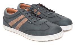 Flying Machine Men Grey Non Leather Mid Top Contrast Trim Casual Shoes with PVC sole