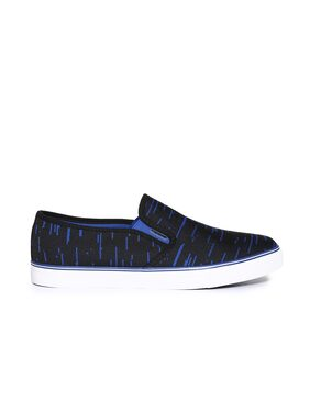 Flying Machine Patterned Canvas Slip On Shoes