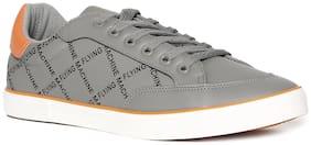 Flying Machine Grey Brand Print Low Top Sneakers