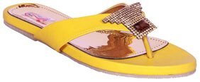 Foot Step Yellow Flats (Size-37)