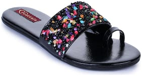 FOOTKALA Women Black Slippers