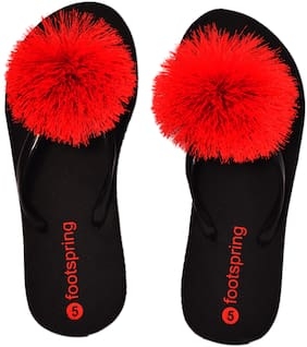 FOOTSPRING Women Red Slippers