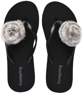 FOOTSPRING Women Grey Slippers