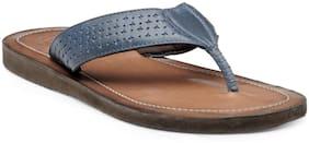 Franco Leone Blue Leather Slippers & Flip-Flops