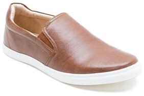 Franco Leone Tan Synthetic Leather Sneakers_shoes