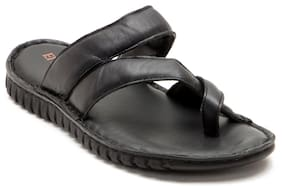 Franco Leone Black Leather Slippers And Flip Flops