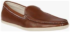 Franco Leone Tan Leather Casual Shoes