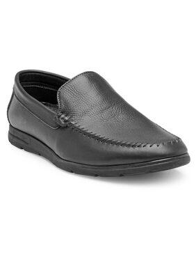 Franco Leone Black Leather Formal Shoes