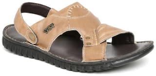 Franco Leone Tan Leather Sandals_And_Floaters