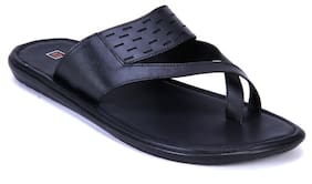 Franco Leone Black Leather Sandals And Floaters