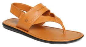 Franco Leone Tan Non Leather Sandals And Floaters