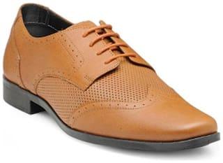 Franco Leone Derby Formal Shoes For Men ( TAN )