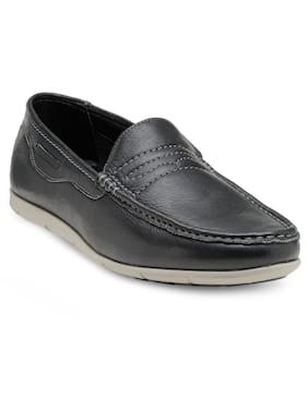 Franco Leone Black Leather Casual Shoes