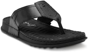 Franco Leone Black Leather Sandals & Floaters