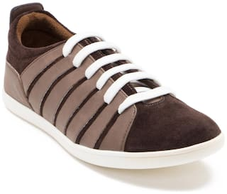 Franco Leone Brown Faux Suede Casual Shoes