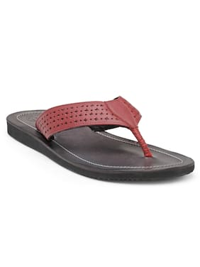 Franco Leone Red Leather Slippers & Flip-Flops