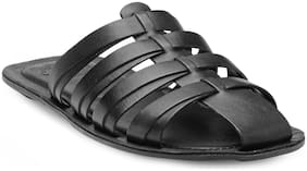 Franco Leone Black Leather Slippers & Flip-Flops