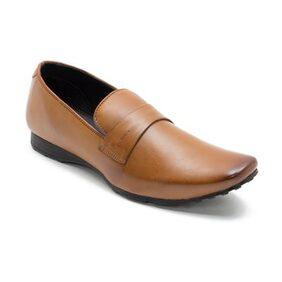 Franco Leone Tan Synthetic Leather Loafers