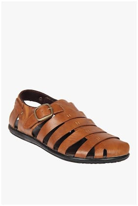 Franco Leone Tan Leather Sandals And Floaters