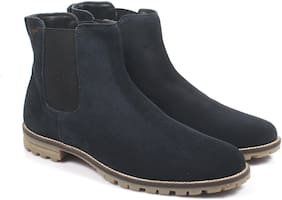 Freacksters Men Navy Blue Chelsea Boots