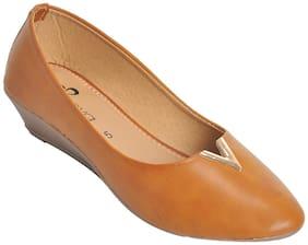 Ajanta Women Tan Slip-On Shoes