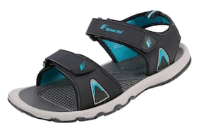 2bf2b5ff46c5 Fsports Mens Black and Turquoise Blue Colour ARROW Series Synthetic Casual  Sandal