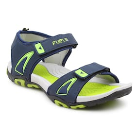 ed68574b0d2569 FUEL Men s Boy s Fashionable Navy PGreen Comfortable Velcro Closure Solid  Casual Floaters   Sandals