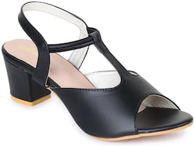 Funku Fashion Women Black Heeled Sandals