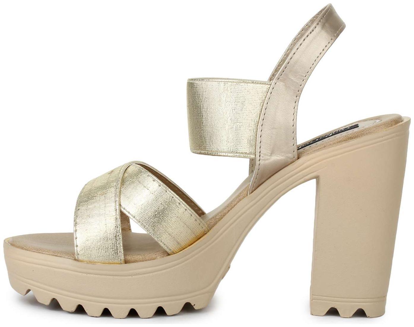 Buy Funku Fashion Golden Block Heels
