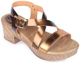 Funku Fashion Brown Block Heels